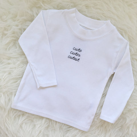 Cute Cuter Cutest Long Sleeve Tee by The English Tee Shop