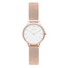 Women's Small Rose Gold Watch White Dial Mesh Strap - Mark 5 - Dean - 32mm