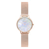 Women's Small Rose Gold Watch White Pearl Dial Mesh Strap - Mark 5 - Fulham - 32mm