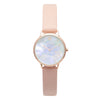 Women's Small Rose Gold Watch White Pearl Dial Pink Leather Strap - Mark 5 - Mayfair - 32mm