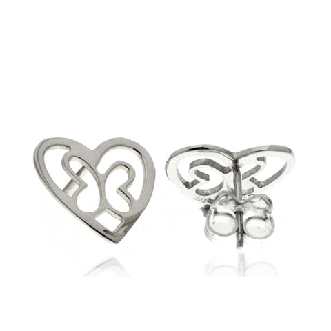 Sterling Silver Butterfly Heart Studs