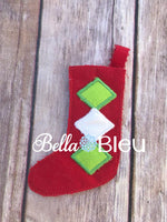 ITH Elf Christmas Argyle Stocking Machine Embroidery in the hoop design