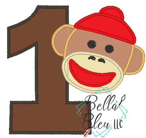 #1 Number One Birthday Sock Monkey applique embroidery design