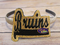 ITH in the hoop Bruins Sports Headband Topper machine embroidery