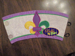 In the Hoop Mardi Gras Mug Coffee Sleeve Embroidery Applique design machine