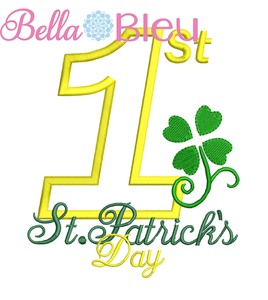 1st St. Patrick's Day Applique Embroidery Design SL