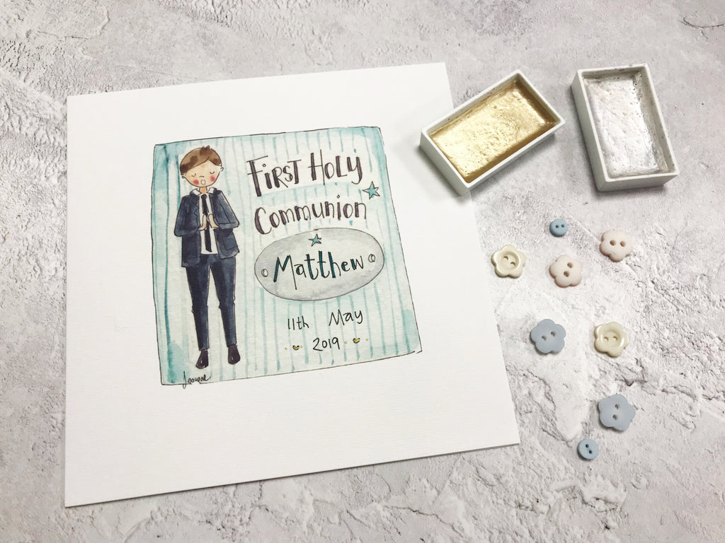 First Holy Communion, Boy Card - Personalised