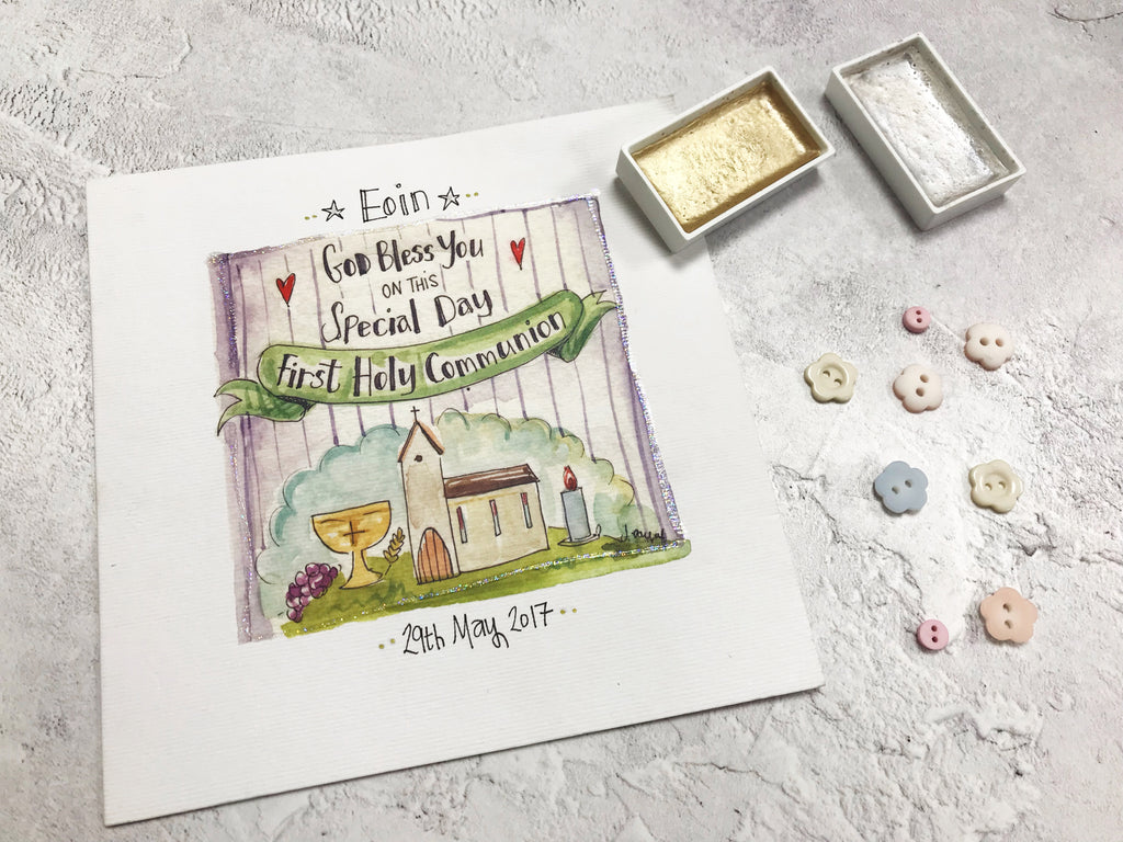 First Holy Communion, Little Church with Text Card - Personalised
