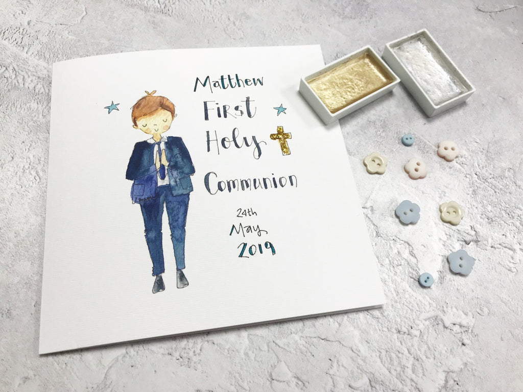 First Holy Communion, Little Boy Card - Personalised