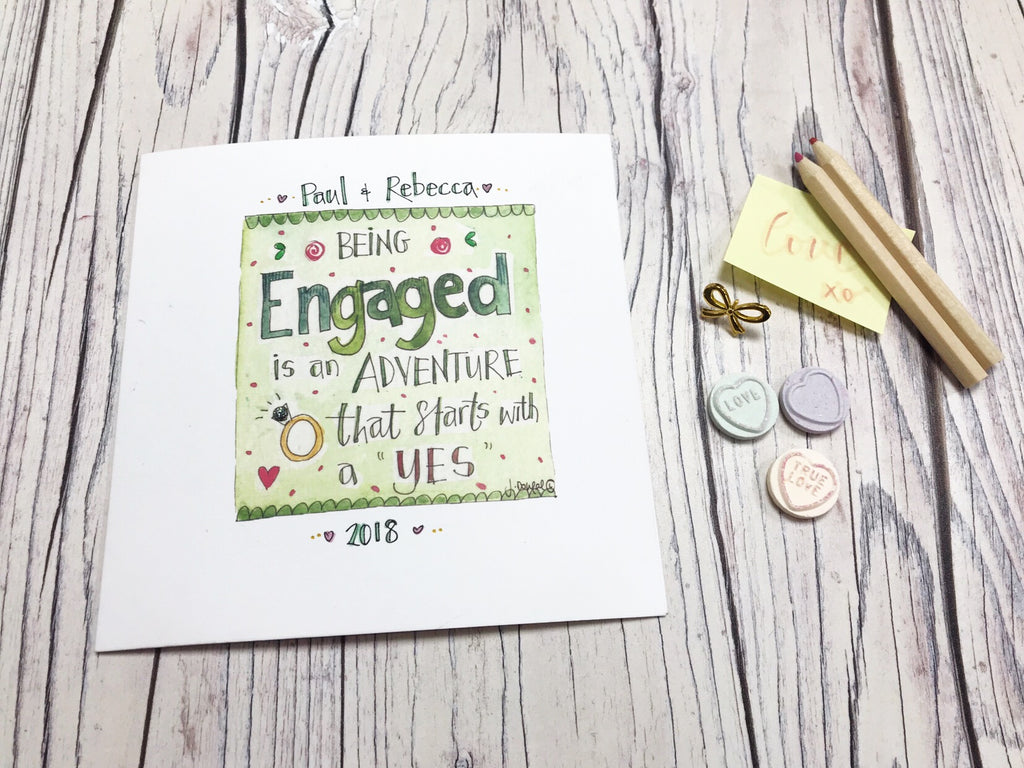 """Being Engaged is an Adventure"" Card - Personalised"