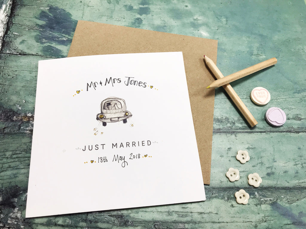 Little Wedding Car Card Personalised