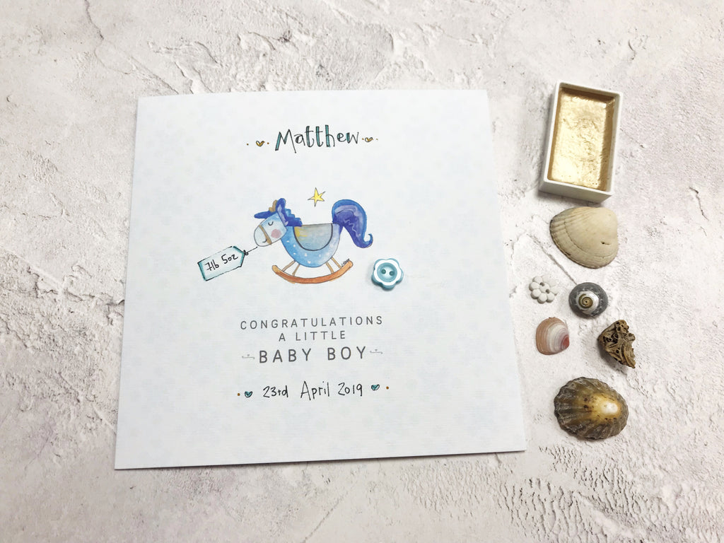 Baby Boy Card - Rocking Horse - Personalised