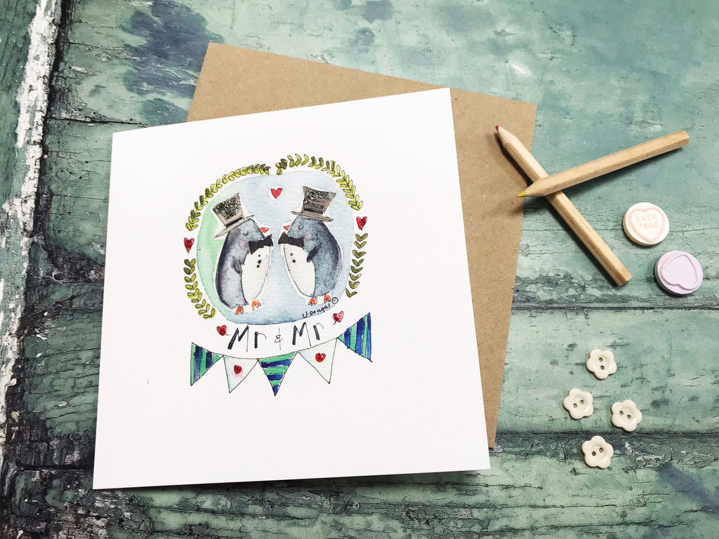 Mr and Mr Penguins Card- Personalised