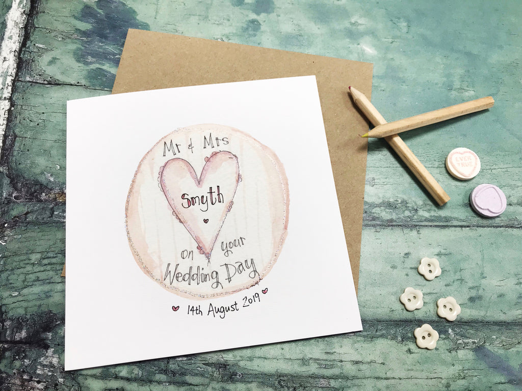 Mr and Mrs Heart Card - Personalised
