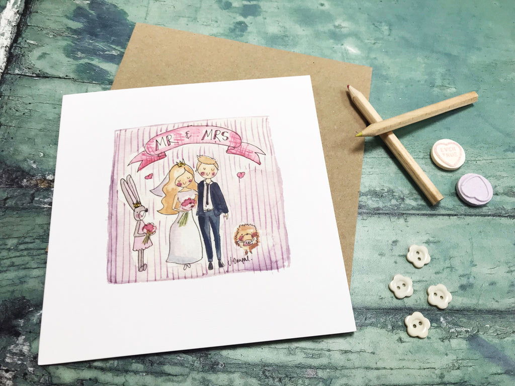 Mr and Mrs Bride and Groom Card- Personalised