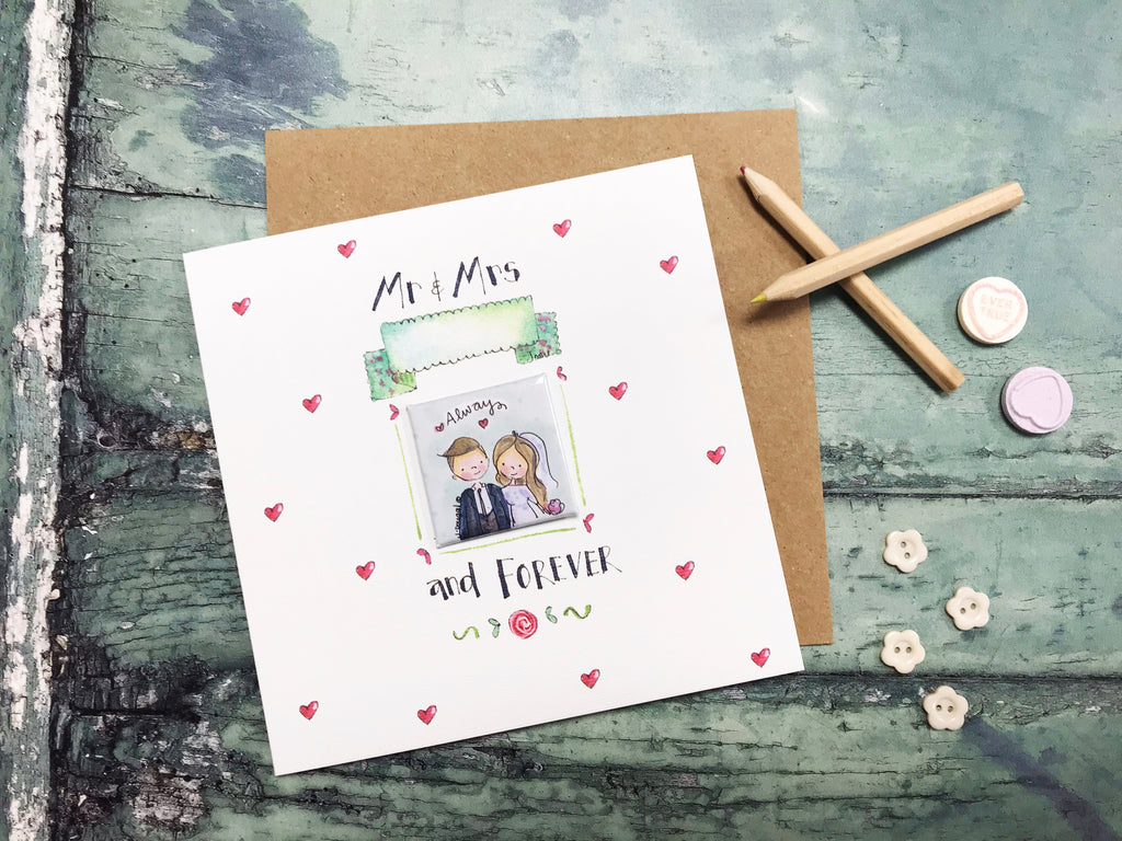 """Little Badge Mr and Mrs"" Card - Personalised"