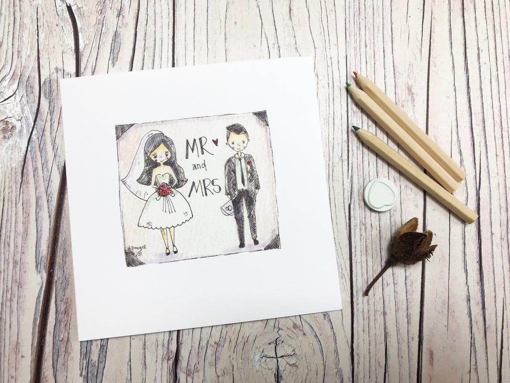 Mr and Mrs Sketch  Card Personalised