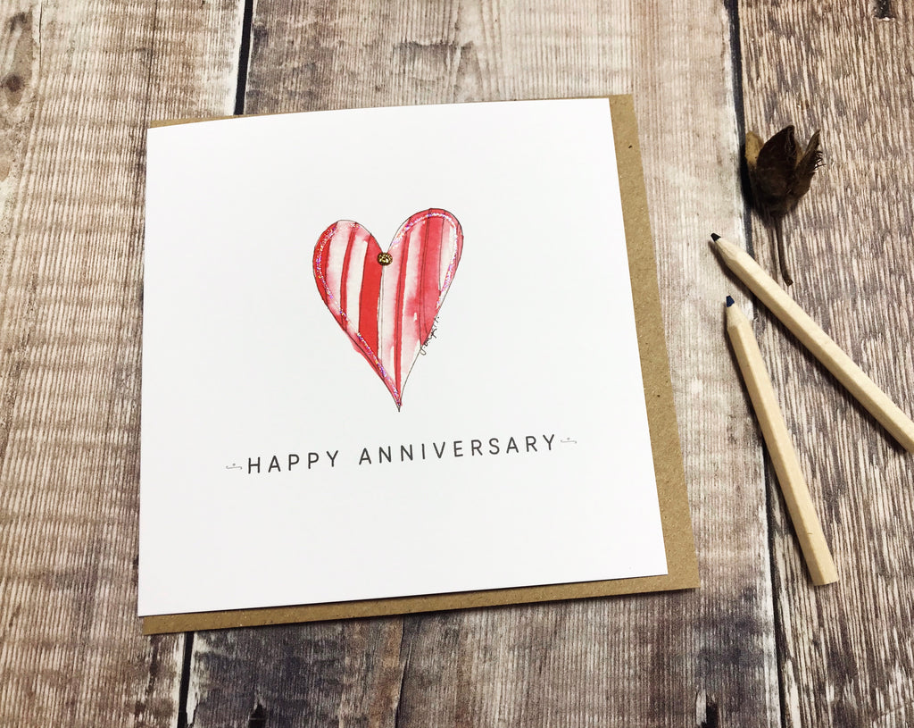 Red Heart Anniversary Card - Personalised