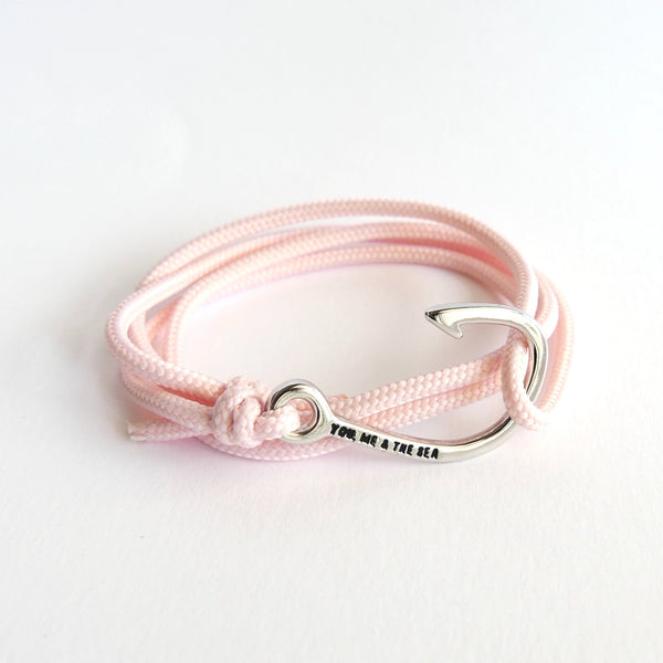 Nautical Rope Bracelet Hook Silver Blush