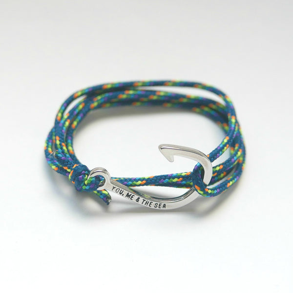 Nautical Rope Bracelet Hook Silver Petrol Rainbow