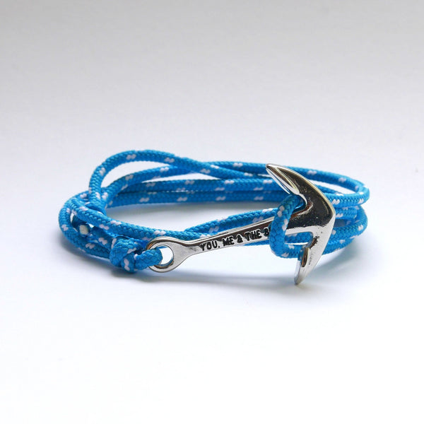 Nautical Rope Bracelet Anchor chrome Ocean Blue and White