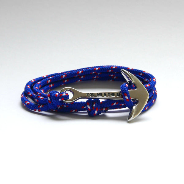 Nautical Rope Bracelet Anchor chrome Deep Blue Red White Dot