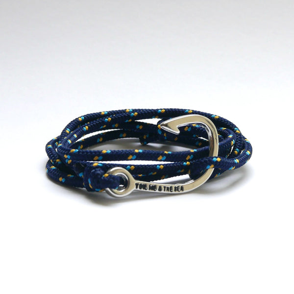 Nautical Rope Bracelet Hook chrome Navy Ocean Gold