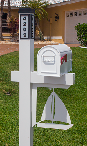 Decorative Mailbox Bracket - Sailboat