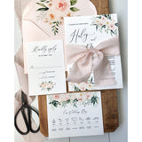 Elegant Blush Pink Floral Wedding Invitation, silk ribbon