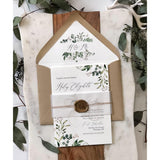 Rustic Greenery Wedding Invitation, Wax Seal, Vellum Wrap