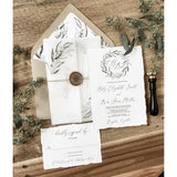 Vellum Wedding Invitation with Greenery and Gold