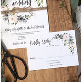 rustic floral wedding invitation with rsvp