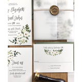 Greenery, Rustic Floral Wedding Invitation Wrapped with Vellum