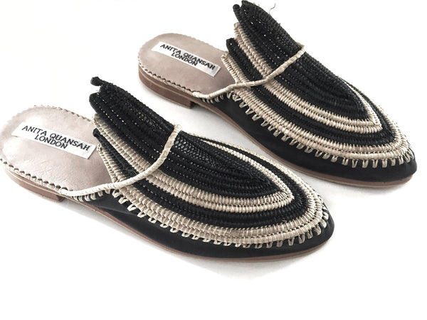 Akila Black Leather with Black And Neutral Raffia Slippers