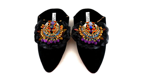 Yazmin Embellished Silk Petal Suede Slippers By Anita Quansah London