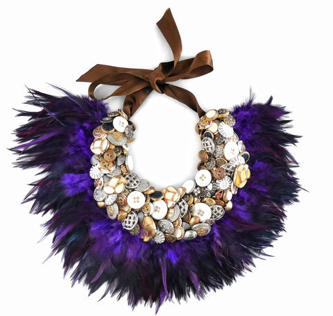 Serena Embellished Button And Purple Feather Collar