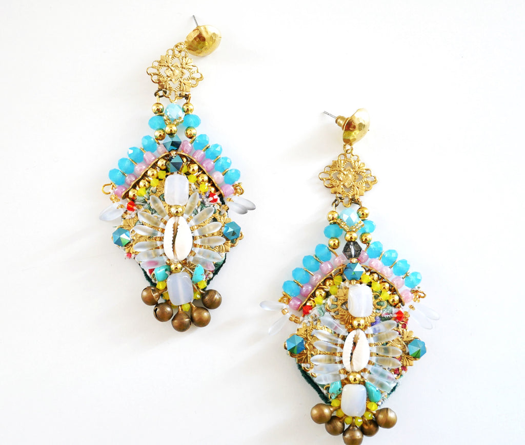 Selena Embellished Crystal and Shell Drop Earrings