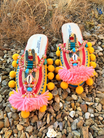 Chiara Embellished Raffia And Leather Tassel Slippers By Anita Quansah London