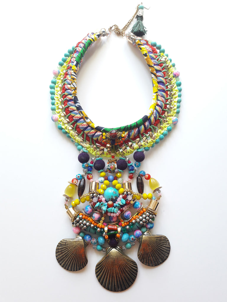 Khalo Multi Stone Brass Shell Pendant Drop Necklace