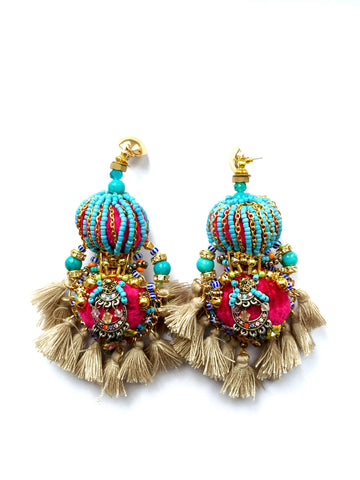 Nalika Embellished Statement Tassel Earrings
