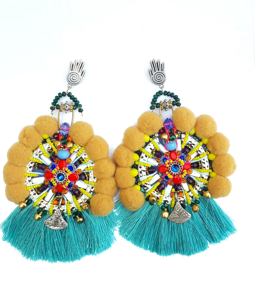 Kaylan Embellished Tassel And Pom-Pom Earrings