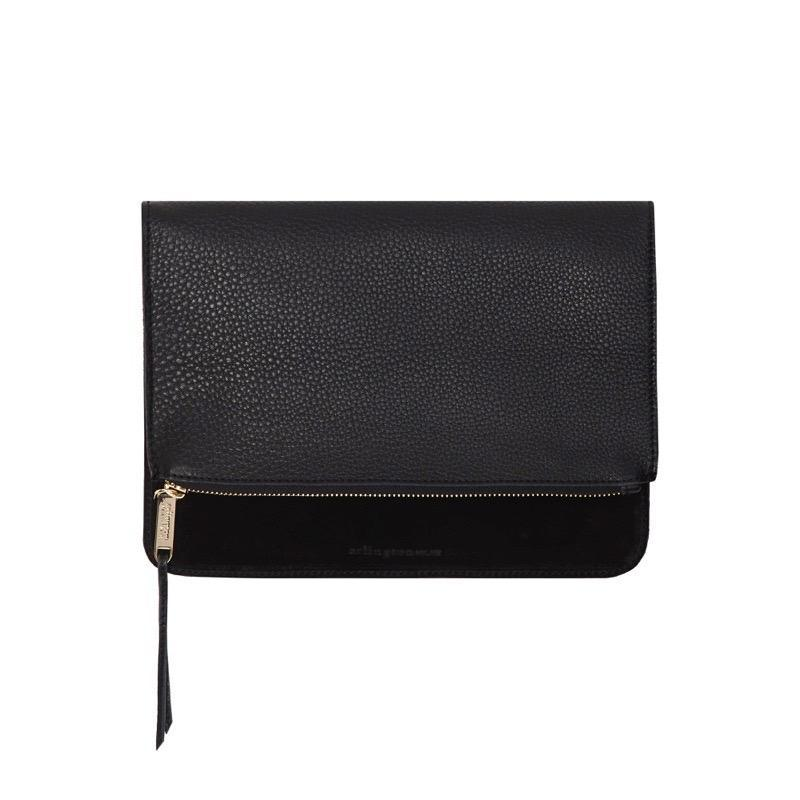 Fold Over Clutch - Black Pebble & Suede