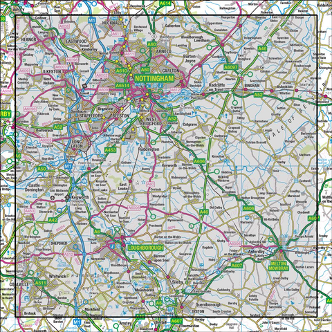 129 Nottingham & Loughborough Melton Mowbray - Anquet Maps