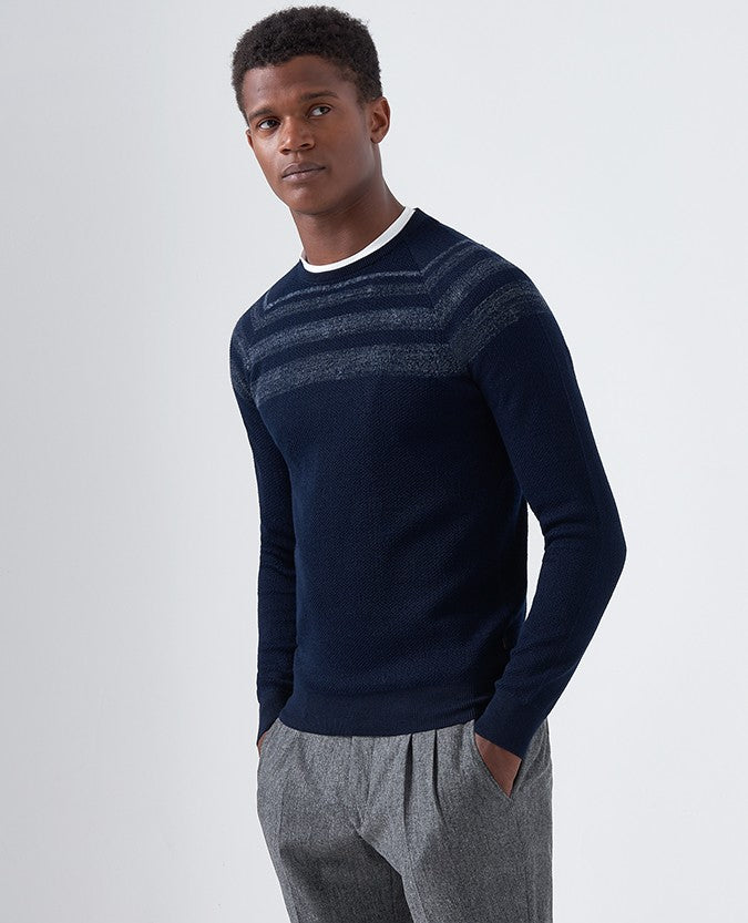 Slim Fit Merino Wool-Blend Crew Neck Sweater 58404 Remus Uomo Jeans - 7clothing Cardiff