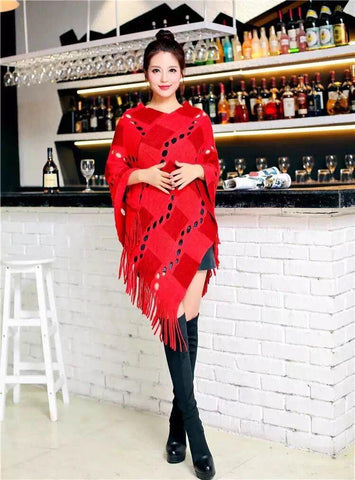 Manra Women Knitted Cape Poncho - Maroon Red Checks with Fringe