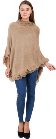 Manra Women Pure Wool Poncho with Designer Border in Beige Colour