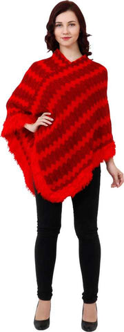 Manra Women Pure Wool Knitted Poncho in Red-Maroon Strips