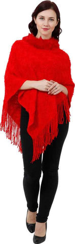 Manra Women Pure Wool Knitted Poncho in Red Colour