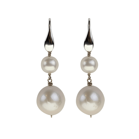 Triple Bead Round Stone Earrings