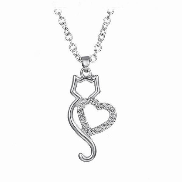 Chat J'adore collier- pendentif Chat Coeur Collier Pendentif Chat
